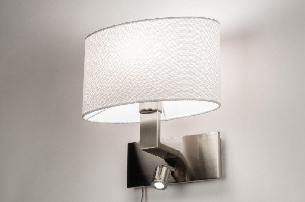 Wandlamp 12840: modern, eigentijds klassiek, staal rvs, stof #0