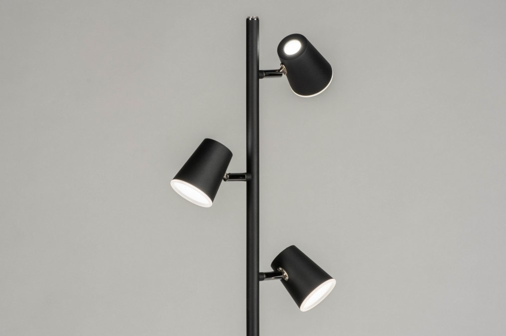 Vloerlamp 12855: design, modern, metaal, zwart #0
