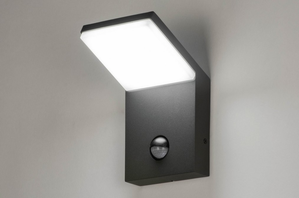 Wandlamp 12856: modern, aluminium, metaal, antraciet donkergrijs #0