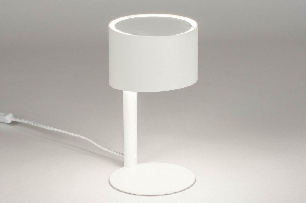 Tafellamp 12898: modern, metaal, wit, mat #0