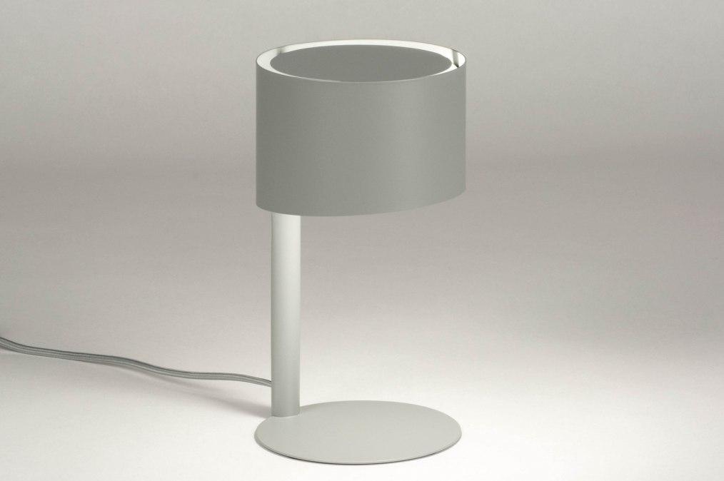 Tafellamp 12899: modern, metaal, grijs, rond #0