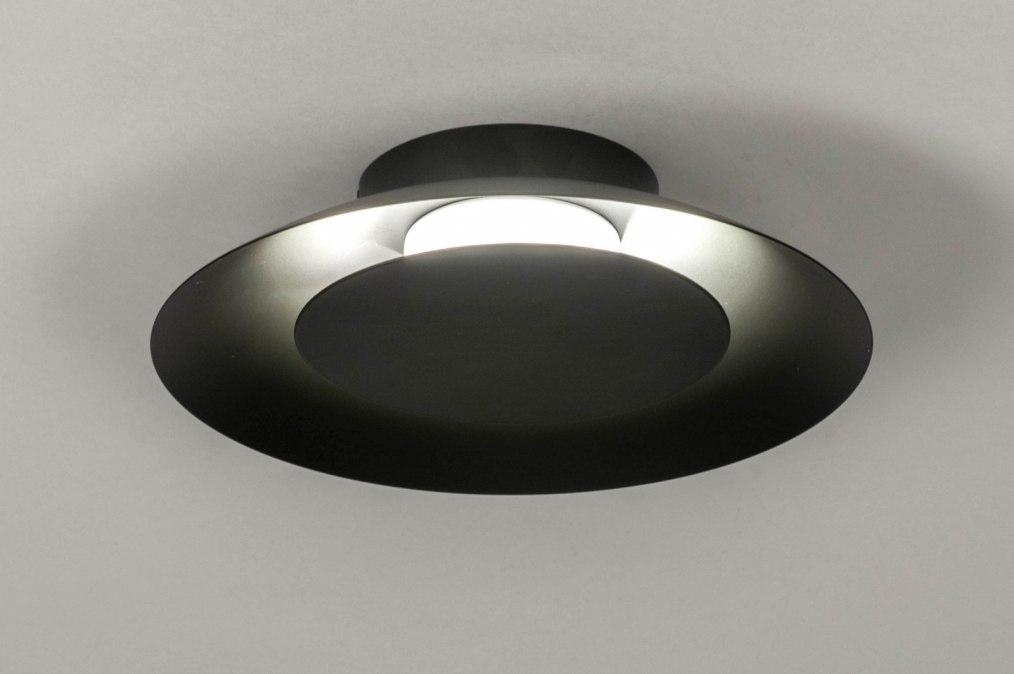 Plafondlamp 12909: modern, metaal, zwart, mat #0