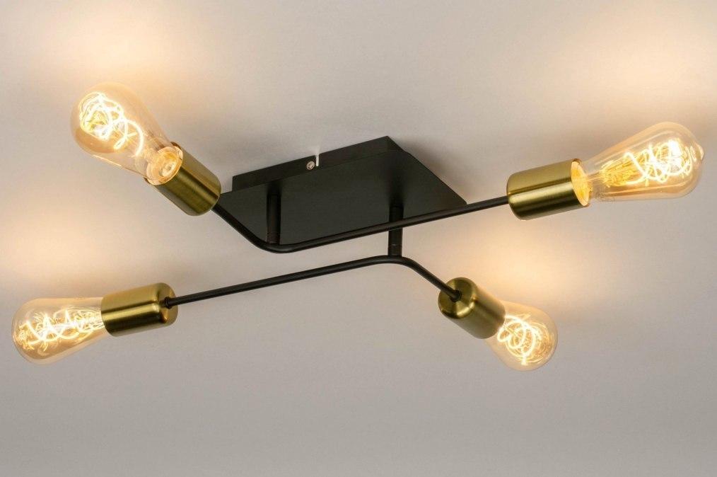 Plafondlamp 12949: modern, retro, metaal, zwart #0