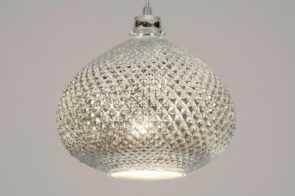 Hanglamp 12957: modern, eigentijds klassiek, glas, zilvergrijs #0