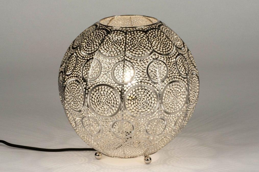 Tafellamp 12986: modern, metaal, nikkel, zilvergrijs #0