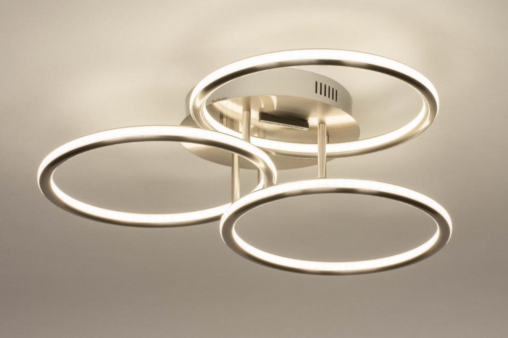 Plafondlamp 13070: modern, staal rvs, metaal, staalgrijs #0