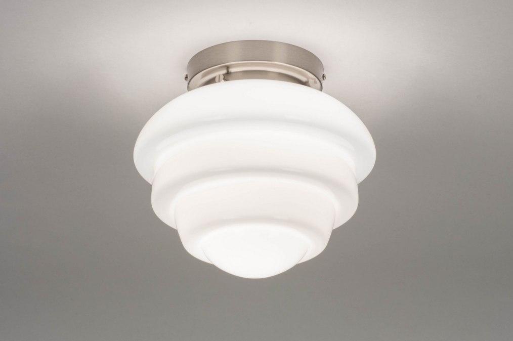 Plafondlamp retro eigentijds klassiek art deco glas