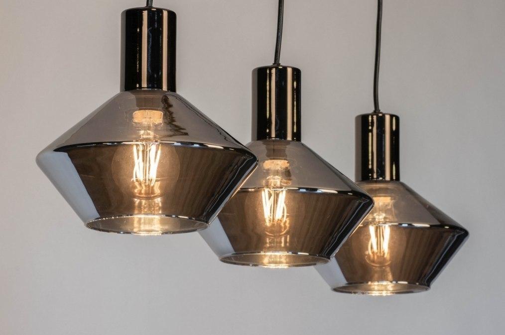 Hanglamp 13080: modern, retro, glas, antraciet donkergrijs #0