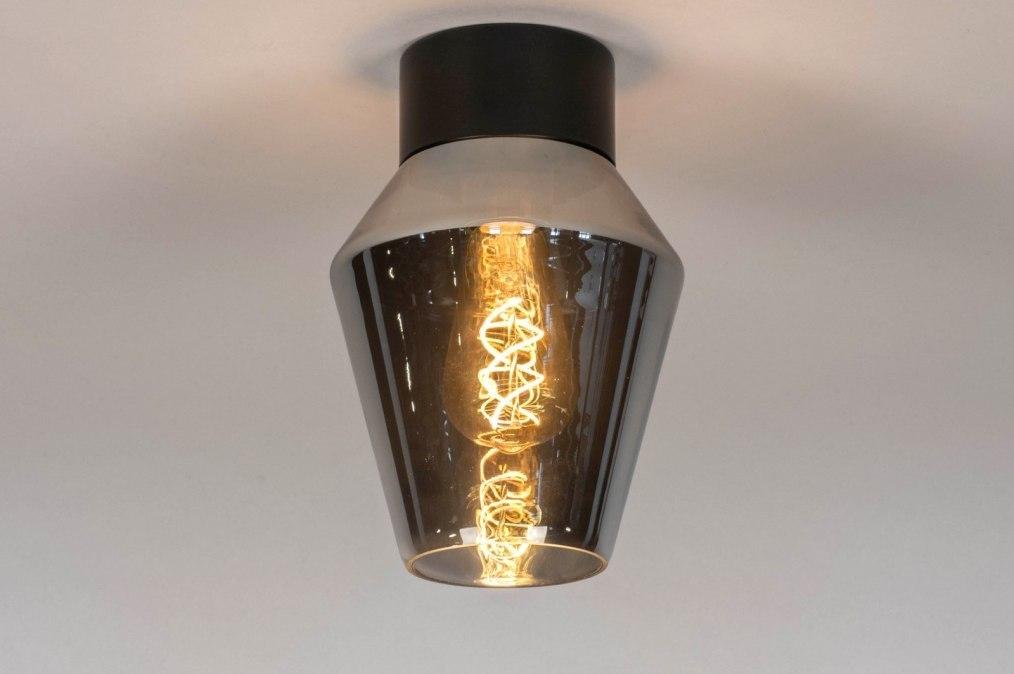 Plafondlamp 13083: modern, retro, glas, zwart #0