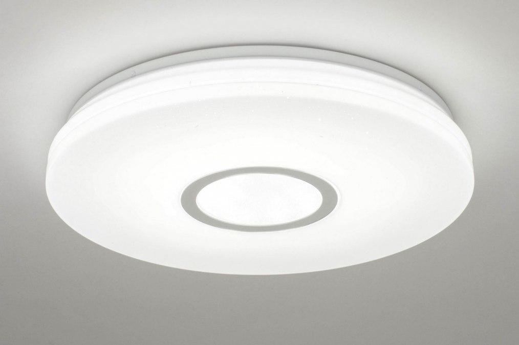 Plafondlamp 13098: modern, kunststof, wit, glans #0
