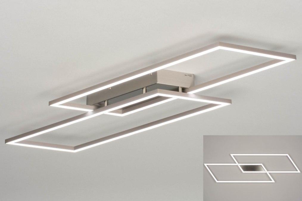Plafondlamp 13102: modern, staal rvs, geschuurd aluminium, metaal #0