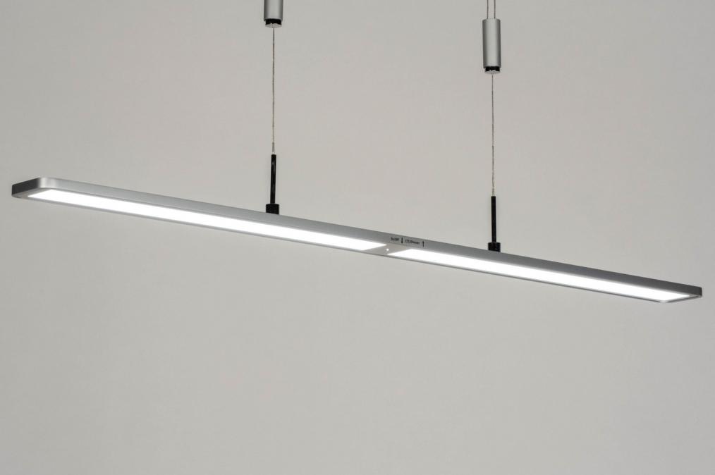 Hanglamp 13103: modern, kunststof, metaal, zilvergrijs #0