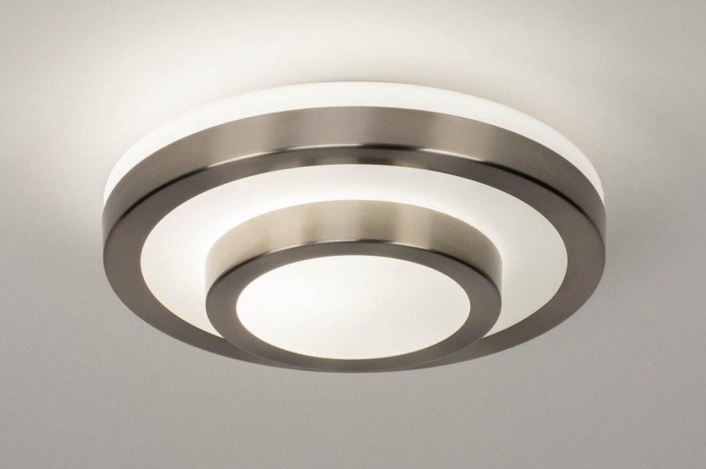 Plafondlamp 13139: modern, glas, wit opaalglas, staal rvs #0
