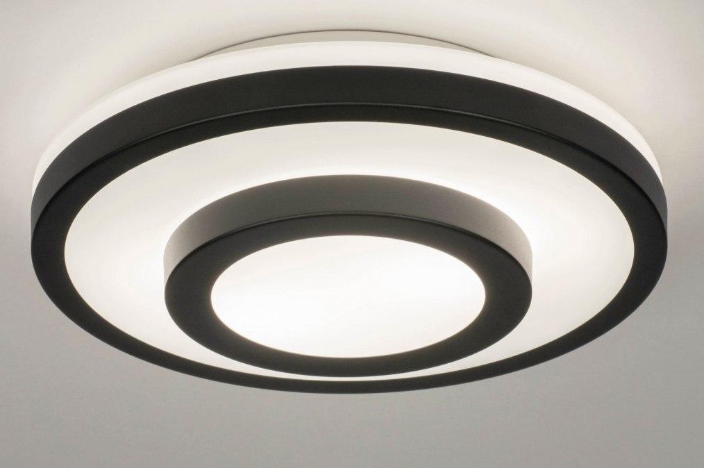 Plafondlamp 13140: modern, glas, wit opaalglas, metaal #0