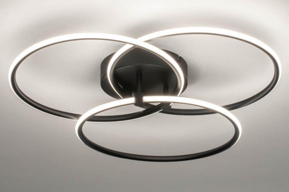 Plafondlamp 13144: modern, metaal, zwart, mat #0