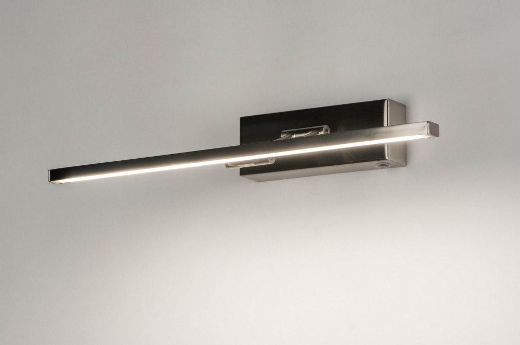 Wandlamp 13149: modern, staal rvs, metaal, staalgrijs #0