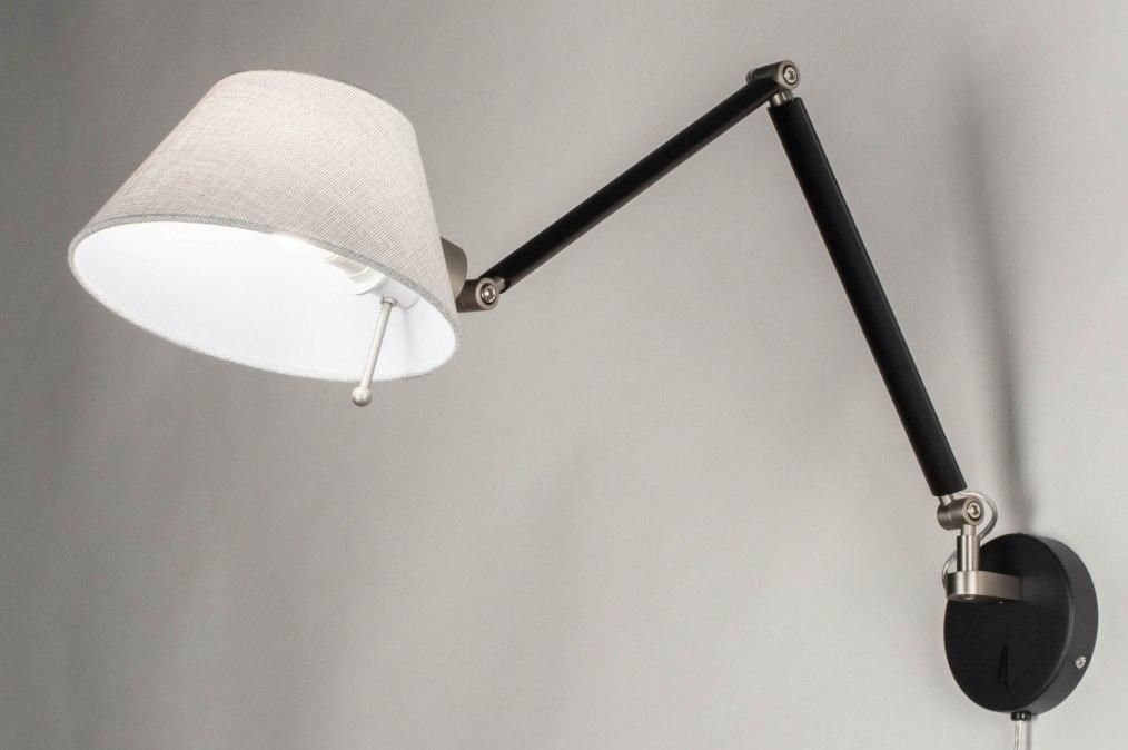 Wandlamp 13156: modern, stof, metaal, zwart #0