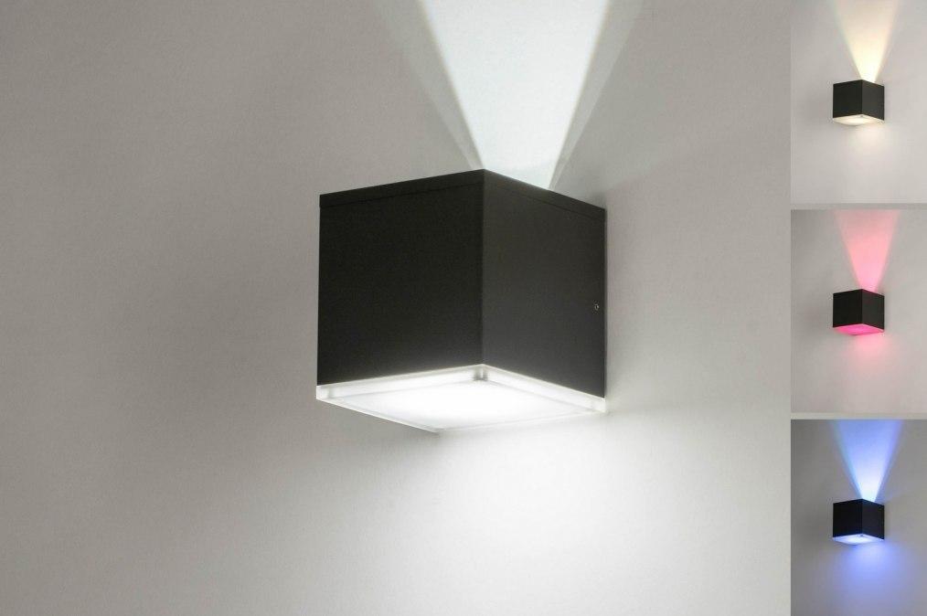 Wandlamp 13195: modern, aluminium, antraciet donkergrijs, vierkant #0