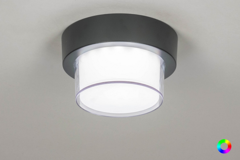 Plafondlamp 13199: modern, aluminium, kunststof, antraciet donkergrijs #0