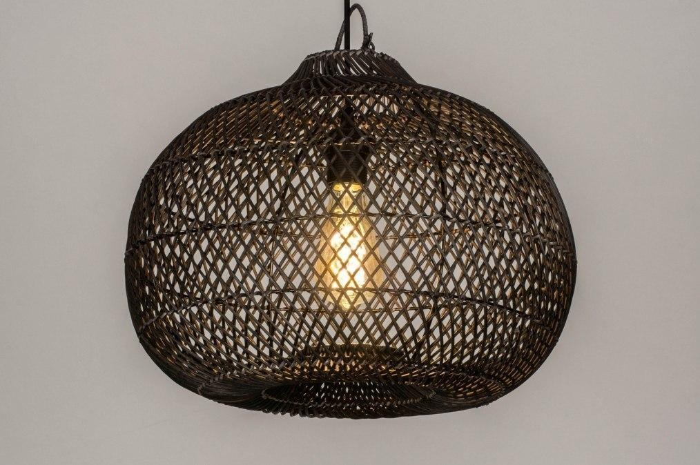 Hanglamp 13212: modern, retro, riet, zwart #0