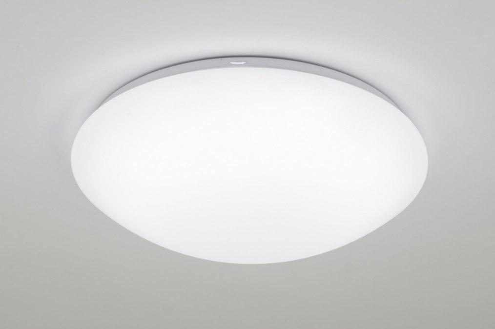 Plafondlamp 13245: modern, kunststof, wit, rond #0