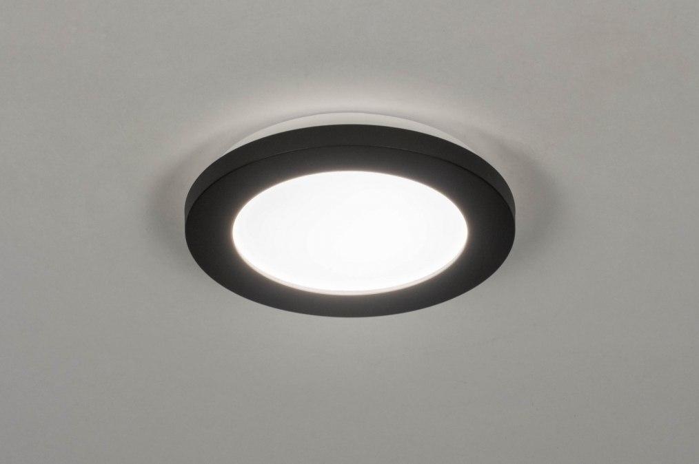 Plafondlamp 13246: modern, kunststof, metaal, zwart #0