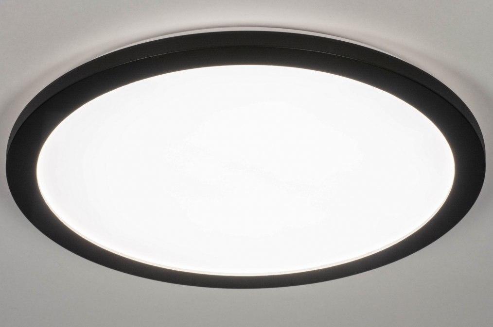Plafondlamp 13248: modern, kunststof, metaal, zwart #0