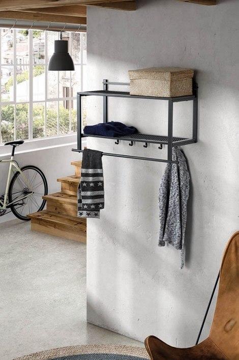 Garderobe 13298: laendlich rustikal, Metall, grau #0