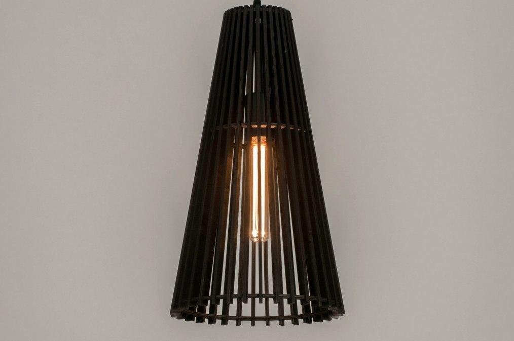 Hanglamp 13329: modern, hout, zwart, mat #0