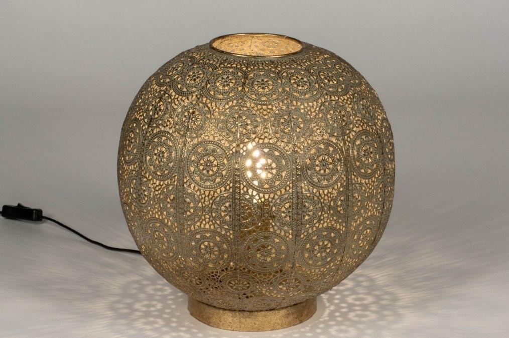 Tafellamp 13462: modern, eigentijds klassiek, metaal, goud #0