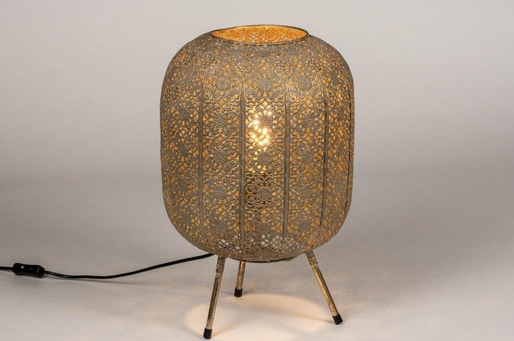Tafellamp 13466: modern, eigentijds klassiek, metaal, grijs #0