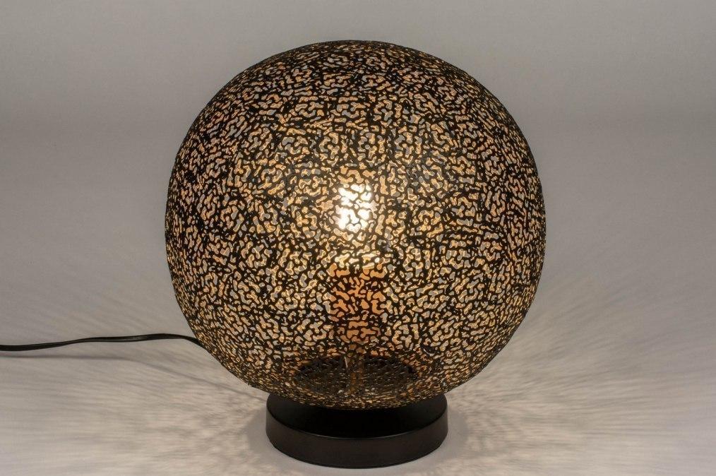 Tafellamp 13474: modern, eigentijds klassiek, metaal, zwart #0
