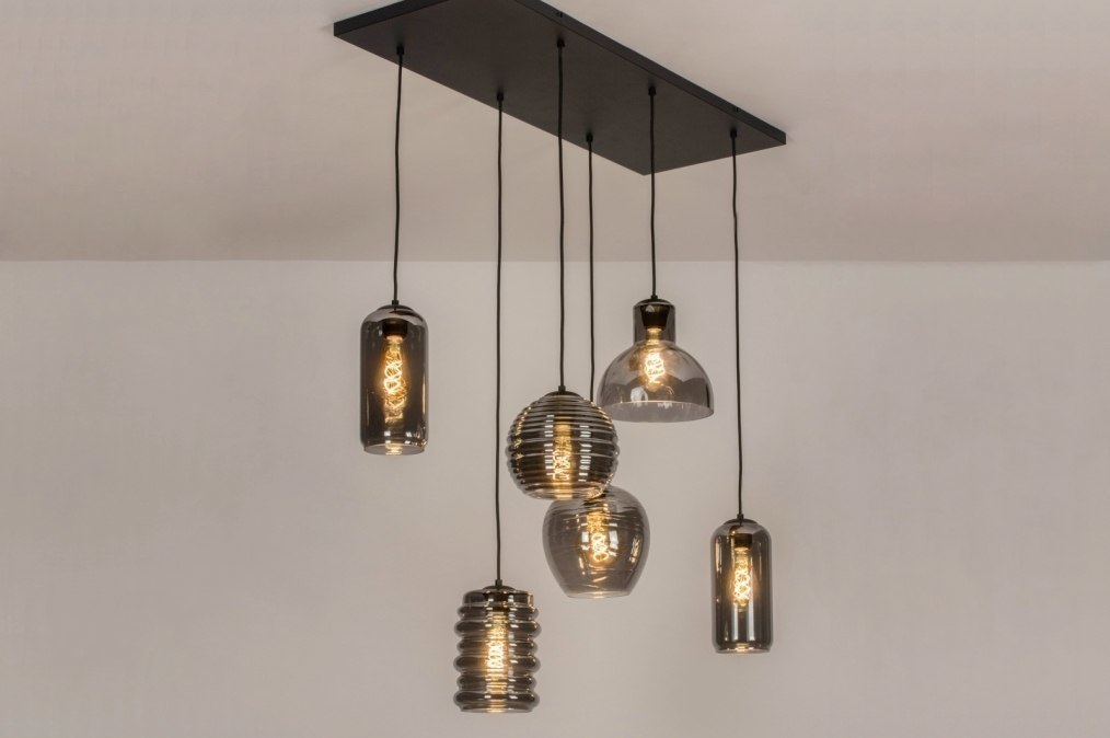 Hanglamp 13513: modern, eigentijds klassiek, glas, metaal #0