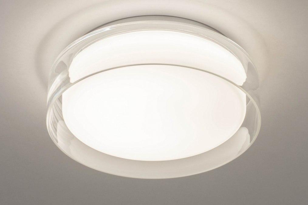 Plafondlamp 13524: modern, glas, wit opaalglas, helder glas #0