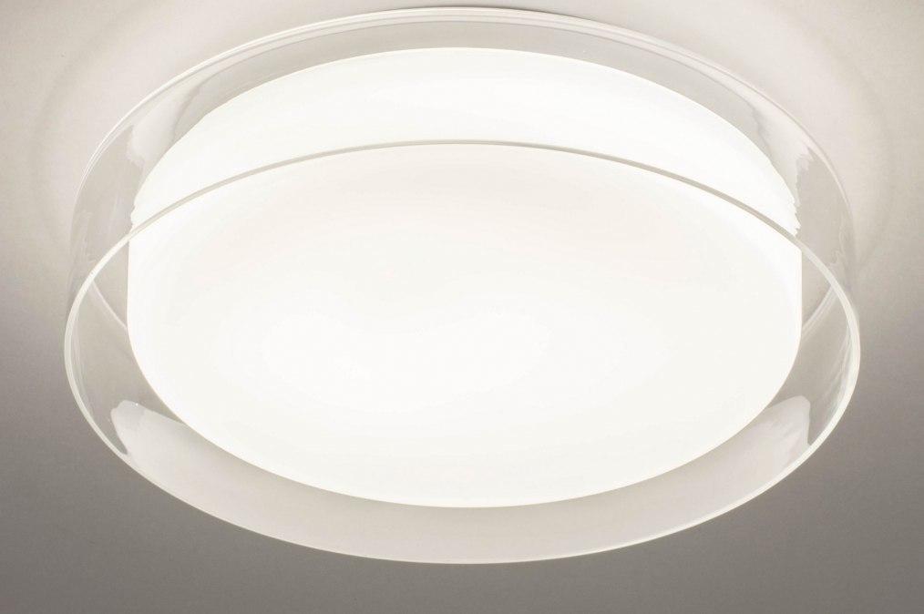 Plafondlamp 13525: modern, glas, wit opaalglas, helder glas #0