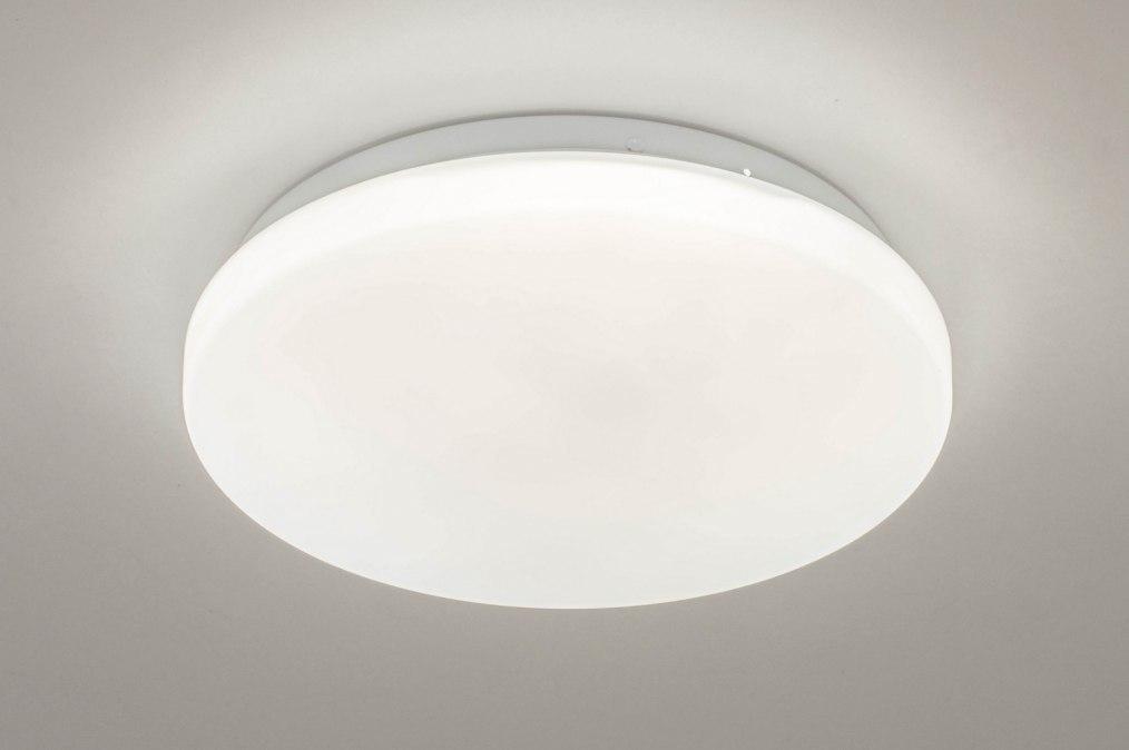 Plafondlamp 13526: modern, kunststof, wit, rond #0