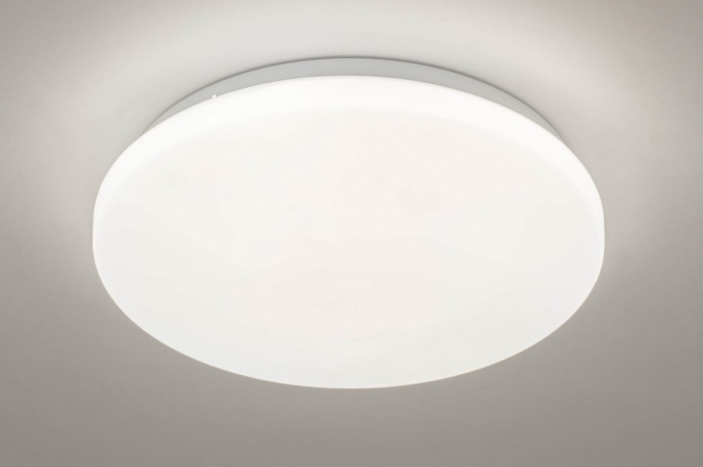Plafondlamp 13527: modern, kunststof, wit, rond #0