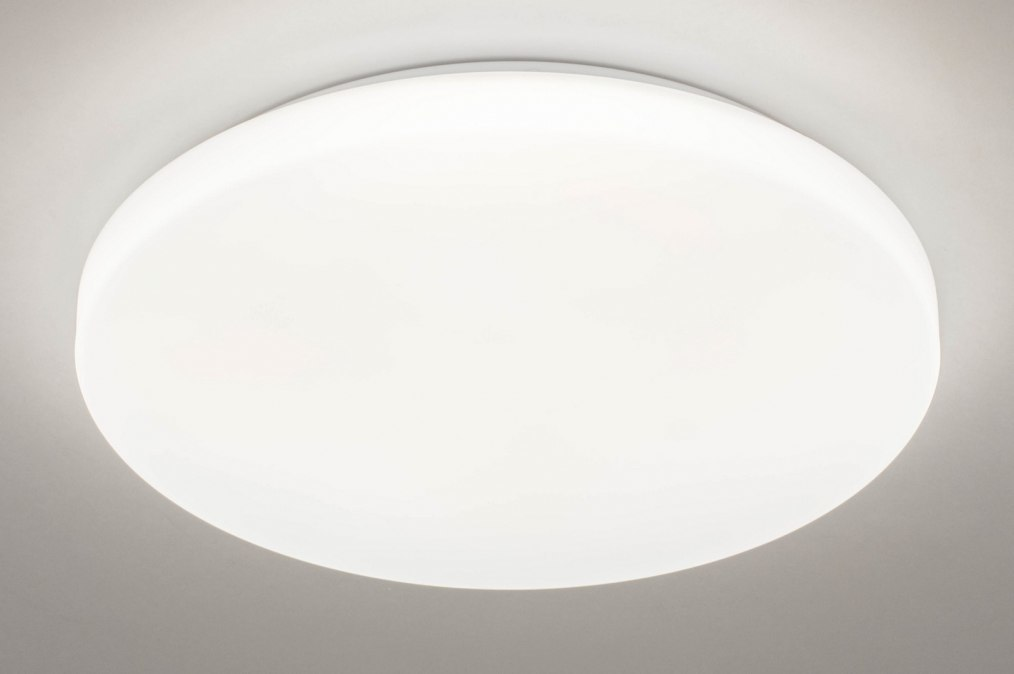 Plafondlamp 13528: modern, kunststof, wit, rond #0
