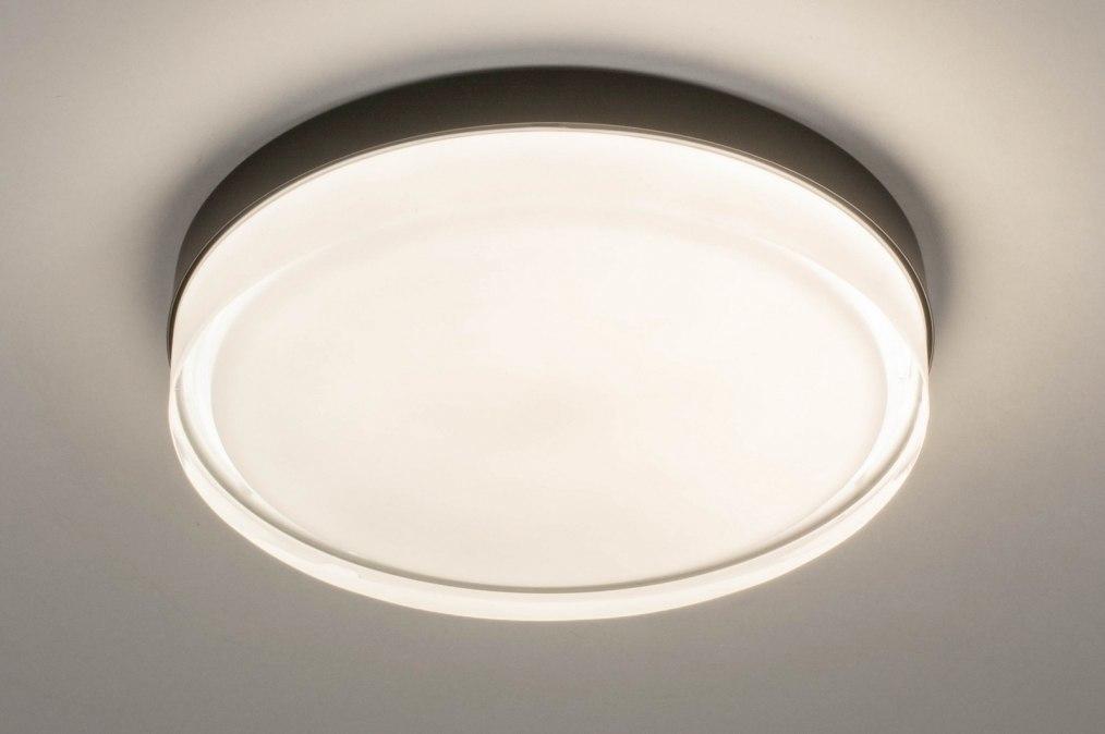Plafondlamp 13549: modern, eigentijds klassiek, glas, wit opaalglas #0