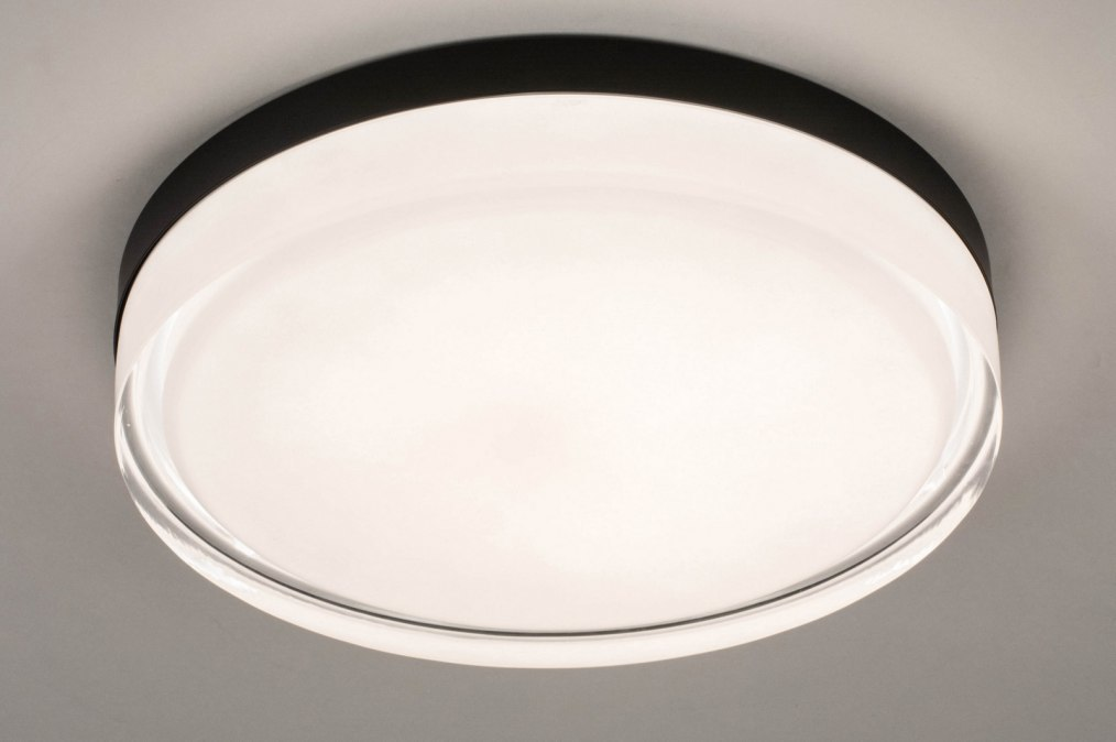 Plafondlamp 13551: modern, eigentijds klassiek, glas, wit opaalglas #0