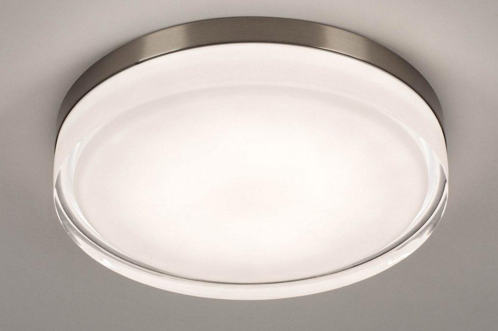 Plafondlamp 13552: modern, eigentijds klassiek, glas, wit opaalglas #0
