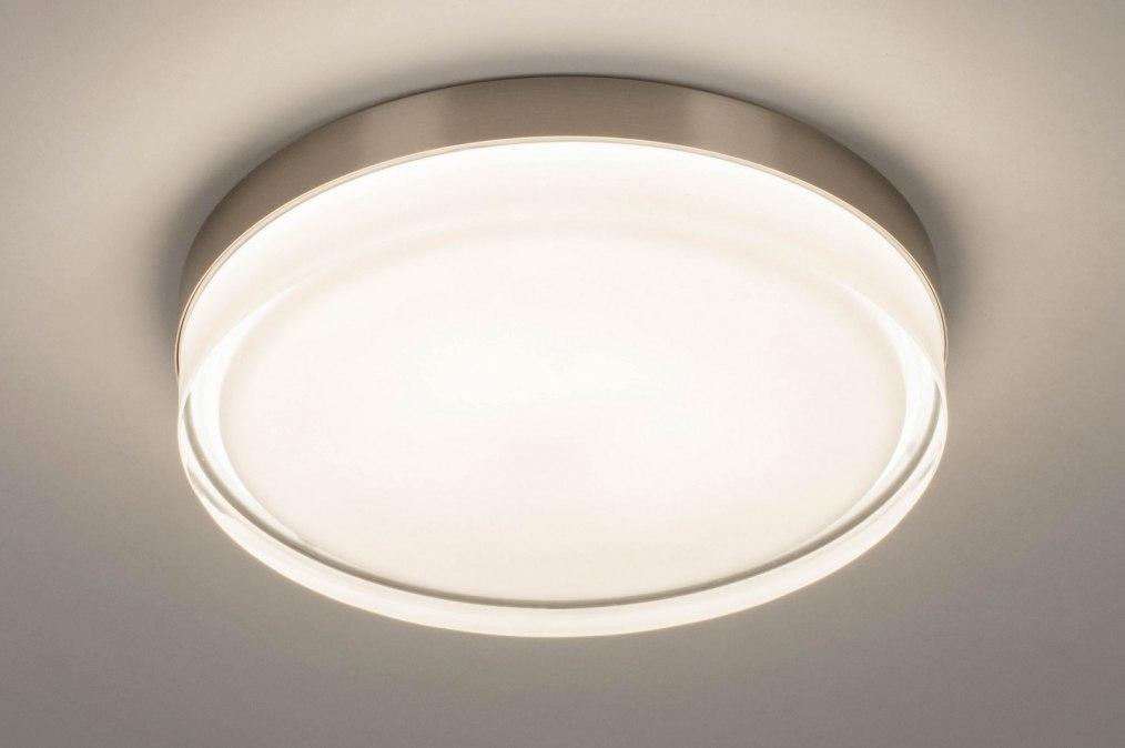 Plafondlamp 13561: modern, eigentijds klassiek, glas, wit opaalglas #0