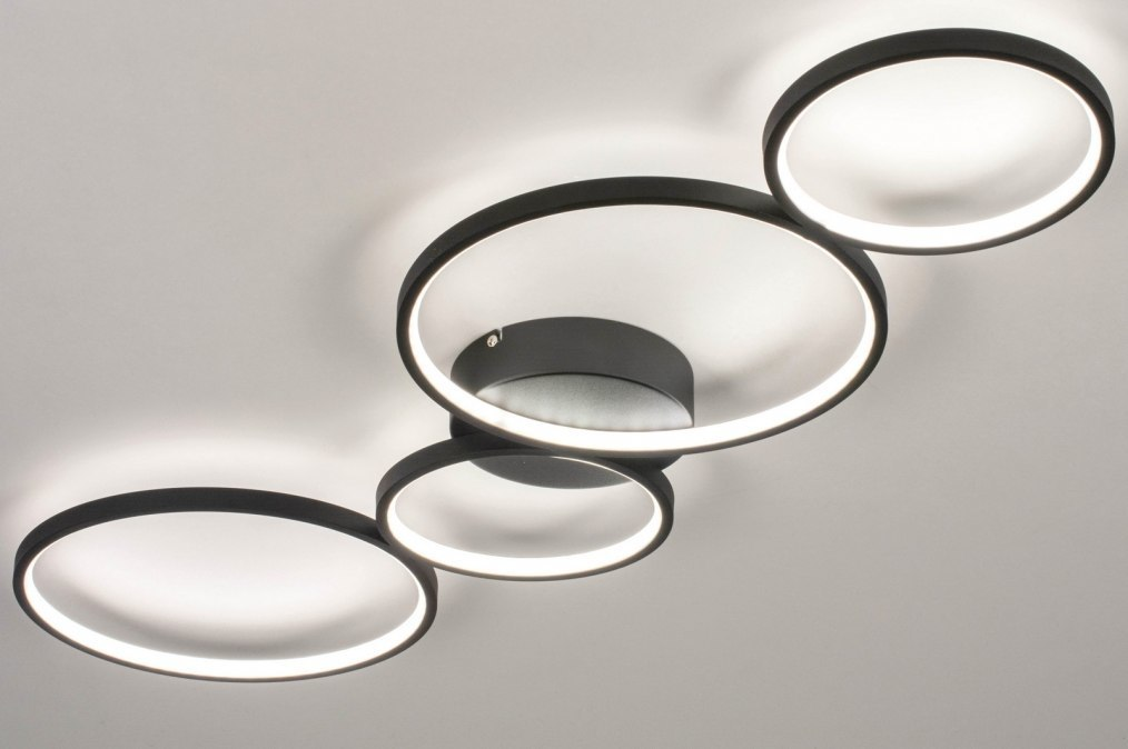 Plafondlamp 13589: modern, aluminium, metaal, zwart #0