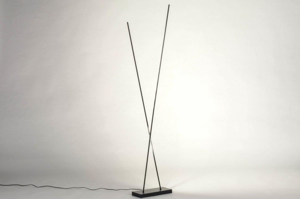 Vloerlamp 13637: design, modern, metaal, zwart #0