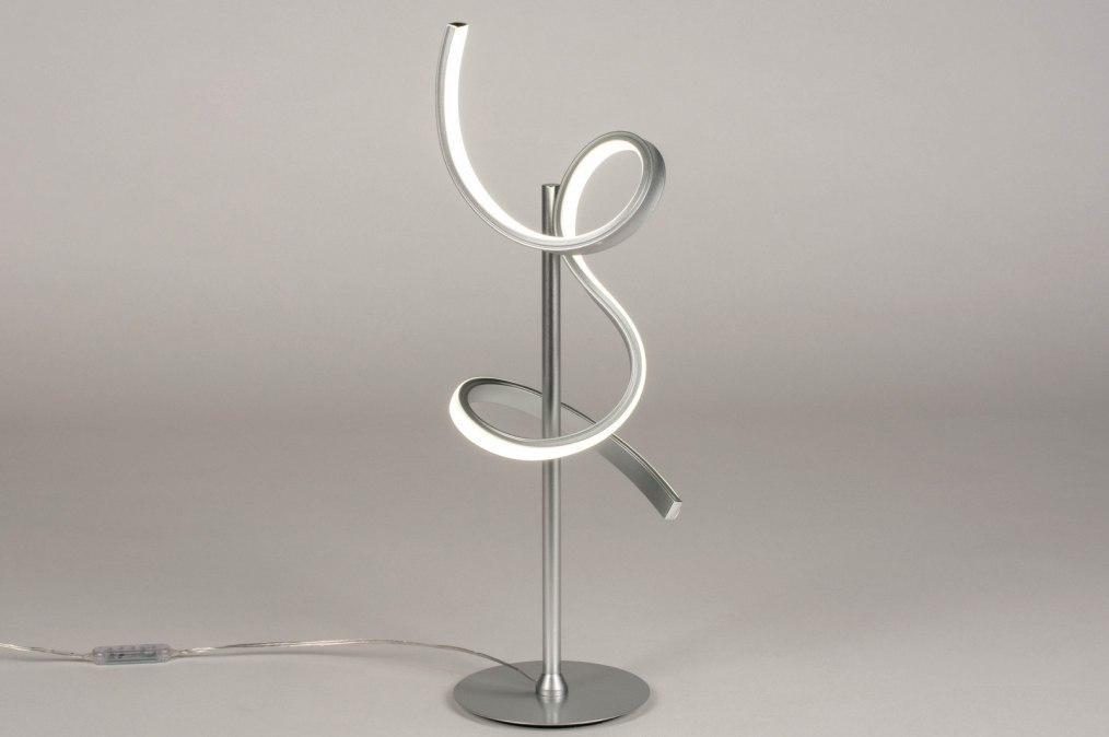 Tafellamp 13674: modern, metaal, zilvergrijs, aluminium #0