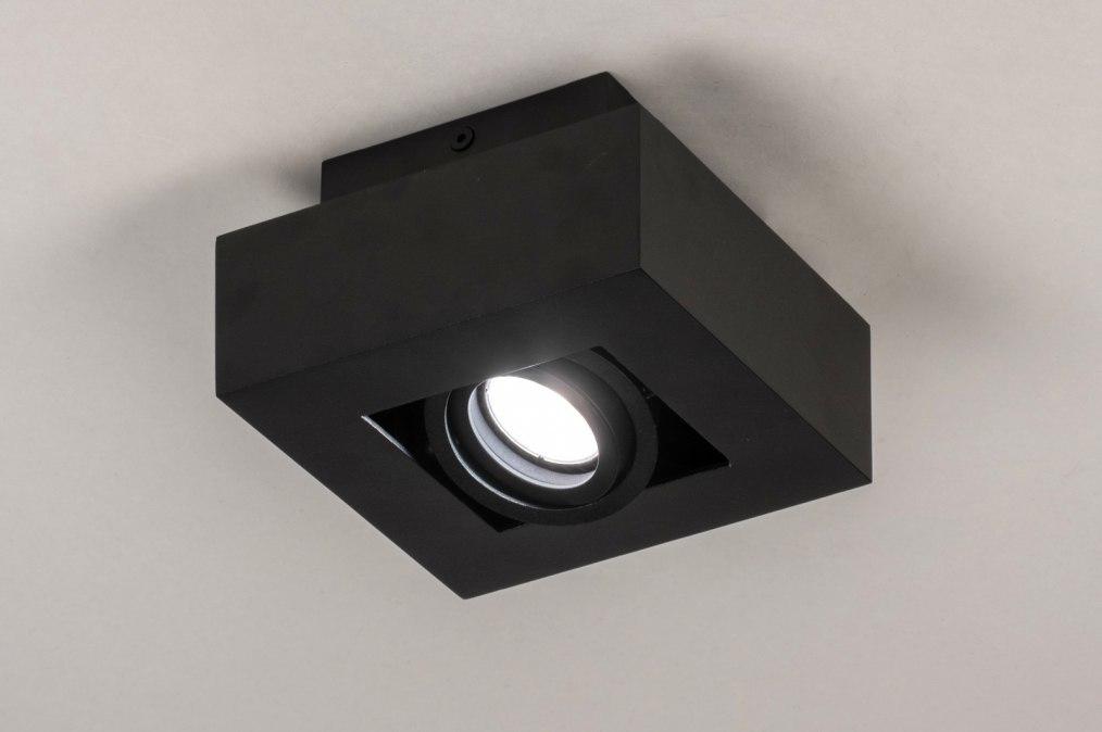 Plafondlamp 13781: design, modern, metaal, zwart #0