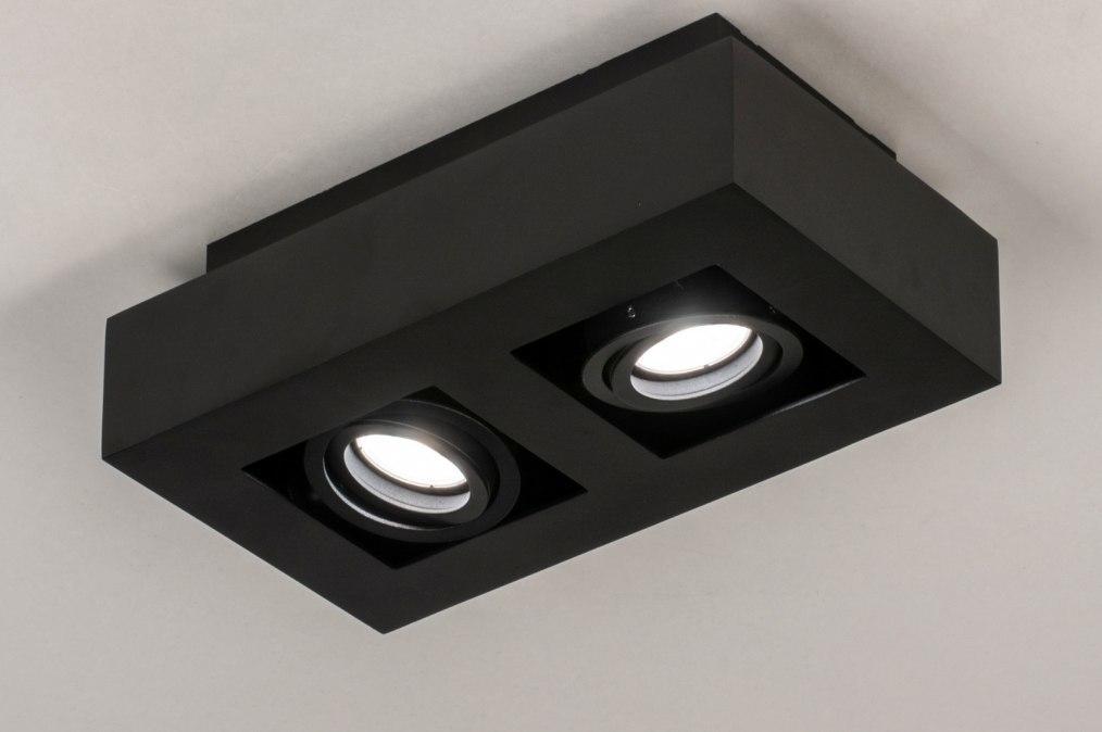 Plafondlamp 13784: design, modern, metaal, zwart #0