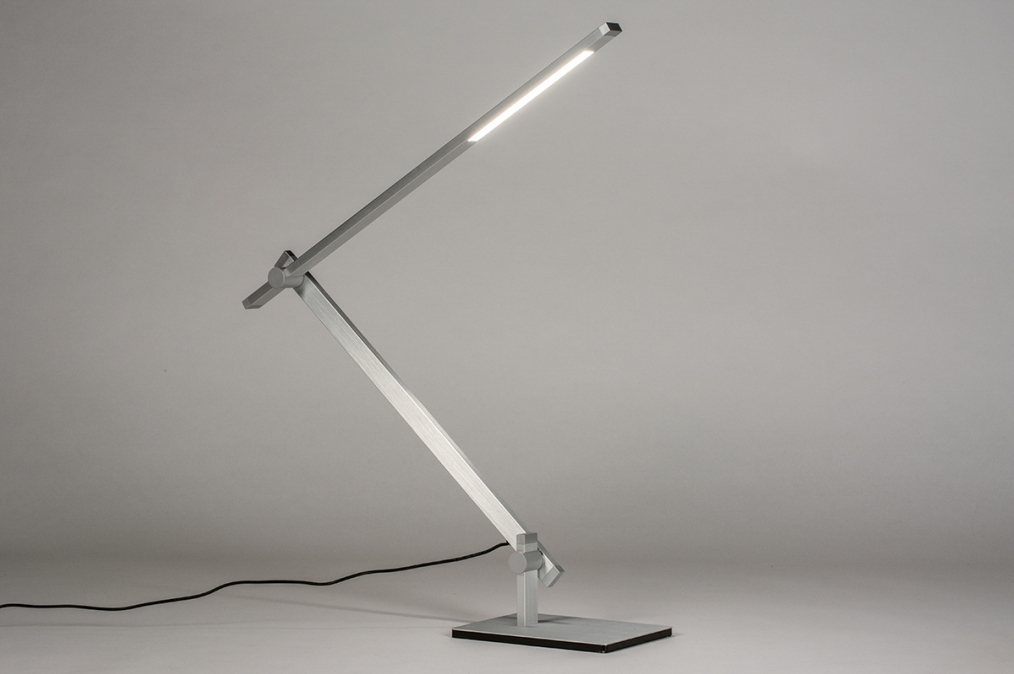 Tafellamp 13868: design, modern, aluminium, geschuurd aluminium #0