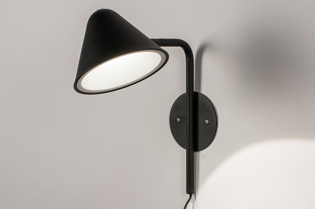 Wandlamp 13877: design, modern, metaal, zwart #0