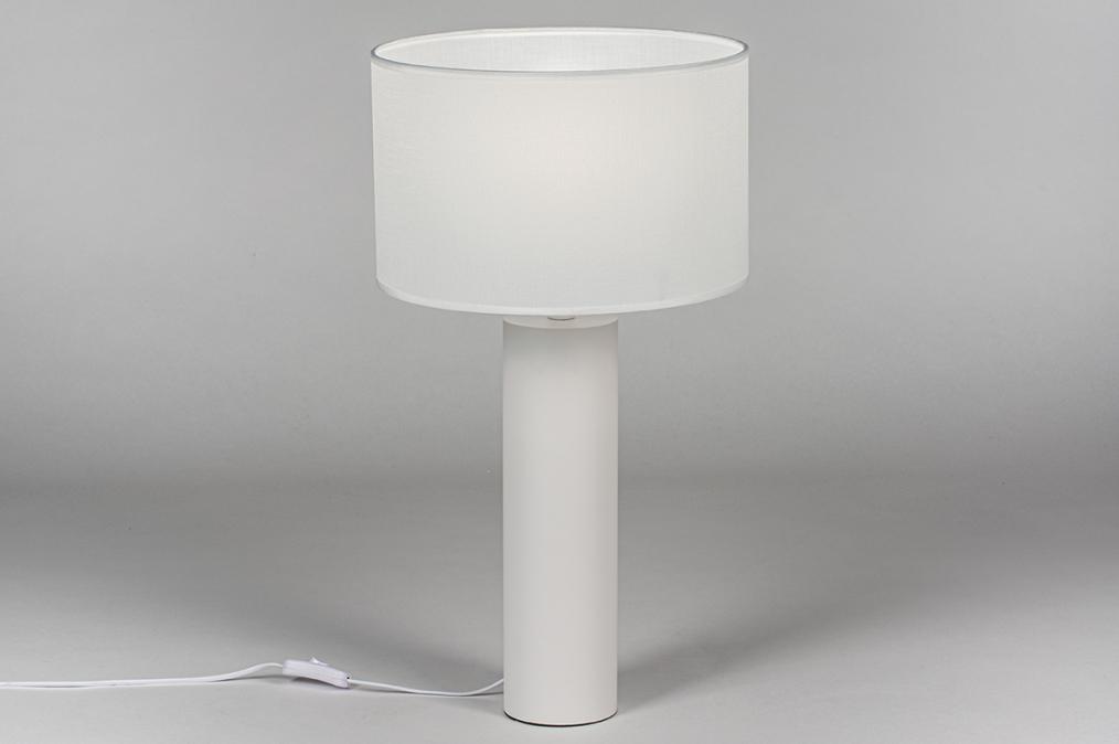 Tafellamp 13886: modern, stof, metaal, wit #0